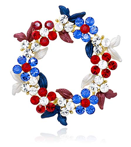 Akianna Gold-Tone Swarovski Element Crystals Wreath Pin Brooch Patriotic Red White Blue ()