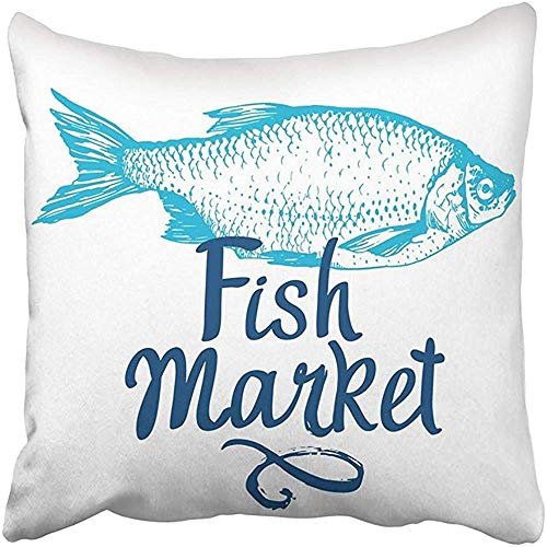 CdVeK9ca Throw Pillow Cover Square 18x18 Inches Rudd Fish Market Seafood Brush Calligraphy Your Design Handwritten Ink Lettering Delicacy Polyester Decor Hidden Zipper Print On Pillowcases