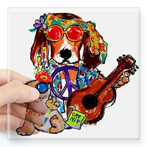 CafePress - Cool Hippie Rockin Dog and Catnip Kitty Sticker - Square Bumper Sticker Car Decal, 3