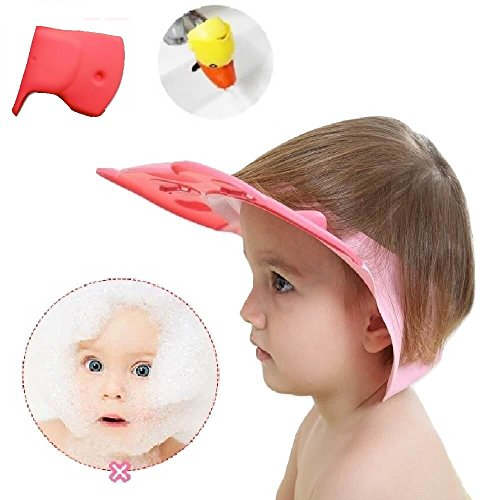 Bath Time Safety Set - Baby Shower Cap Shampoo Hat Visor Ear Eye Protection Shield for Toddler Kid Child Head Hair Rinser - Tub Guard Spout Cover - Faucet Extender - Leak Proof Adjustable Comfortable