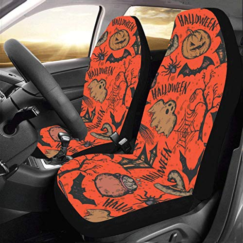 Artsadd Halloween Pumpkins Bat Ghost Car Seat Covers (Set of 2) Best Automobile Seats Protector]()
