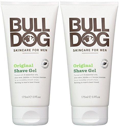 Bulldog Skincare for Men Original Shave Gel (Pack of 2) With 8 Essential Oils, Aloe Vera, Jojoba and Konjac Mannam, 5.9 fl. oz.