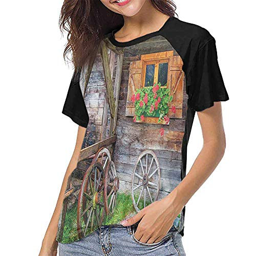 (Shutters,Sleeves for Women S-XXL(This is for Size Extra Extra Large) Weathered Window with Flowers in Pot Wheels Farmhouse Rural Scene Front View,Tops O Neck T Shirts)
