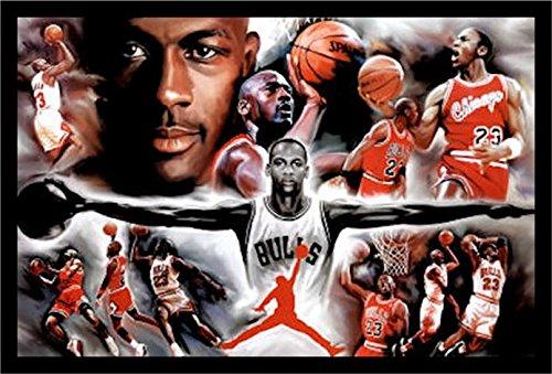 50715 36x24 1.25 Black Framed Michael Jordan - Collage Open Arms 36X24 Sports Art Print Poster NBA Chicago Bulls Superstar Legend (Arms Poster Print)