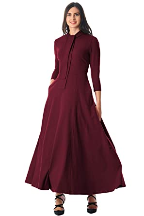 a78afc5aef Maxi 3 4 Sleeve Dress - Burgundy Long Sleeve Pocketed Tie Neck Maxi Dresses  for Women at Amazon Women s Clothing store