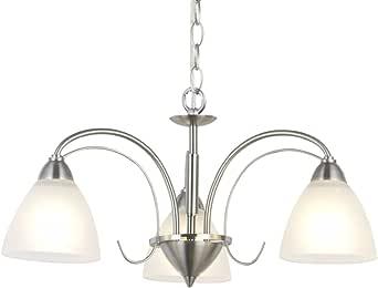VINLUZ Modern Chandeliers Brushed Nickel 3 Lights Pendant ...