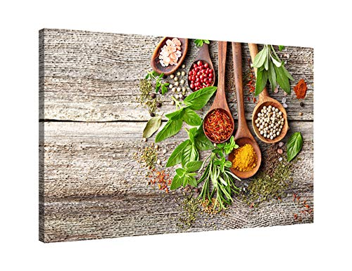 - AMEMNY Canvas Prints Kitchen Wall Art Still Life Various of Spices on Rustic Wooden Table FoodKitchen Concept Modern Wall Decor Stretched Framed Ready to Hang