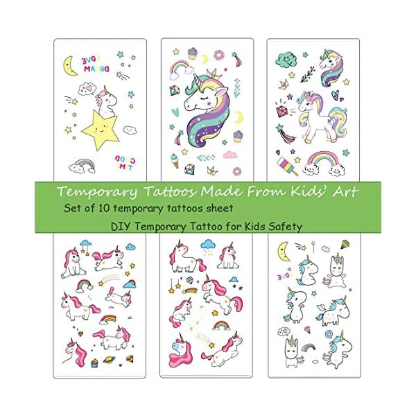 M.owstoni Unicorn Party Supplies Tattoos for Kids - 70 Glitter Styles Unicorn Party Favors and Birthday Decorations + Halloween Costume 4