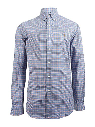 Polo Ralph Lauren Men's Slim Fit Checked Oxford Shirt (Large, - Blue Orange Polo And Lauren Ralph