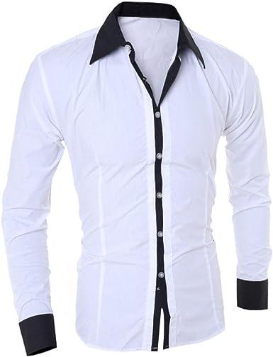 LMMVP Camisa de Hombre Moda Personalidad Manga Larga Ajustado Clásico Básica Botón Formal Casual Camiseta para Hombre Tops para Hombre Blusa para Hombre (M, Blanco): Amazon.es: Ropa y accesorios