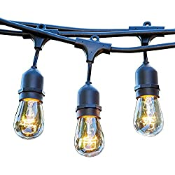 48 FT Weatherproof Outdoor String Lights - 15 Hanging Sockets - Perfect Patio Lights - Commercial Grade - 16 11 Watt S14 Dimmable Incandescent Bulbs Included