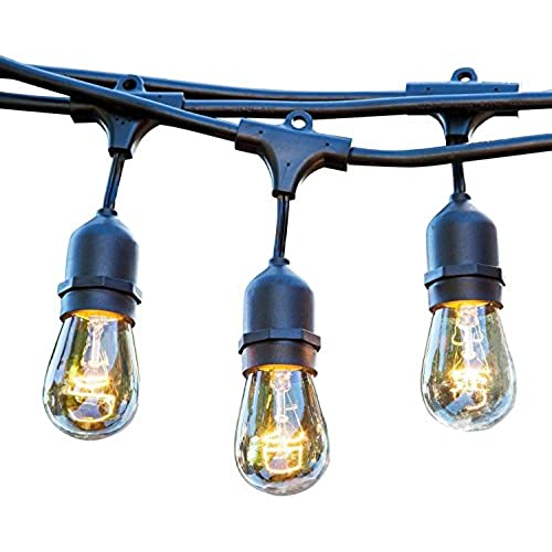 Ordinaire 48 FT Weatherproof Outdoor String Lights   15 Hanging Sockets   Perfect Patio  Lights   Commercial Grade   16 11 Watt S14 Dimmable Incandescent Bulbs ...