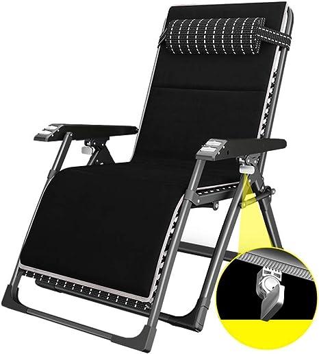 LNDDP Tumbonas reclinables con Cojines | Silla de jardín reclinable Plegable Negra Acolchada | Tumbonas con portavasos, MAX. 160kg: Amazon.es: Deportes y aire libre