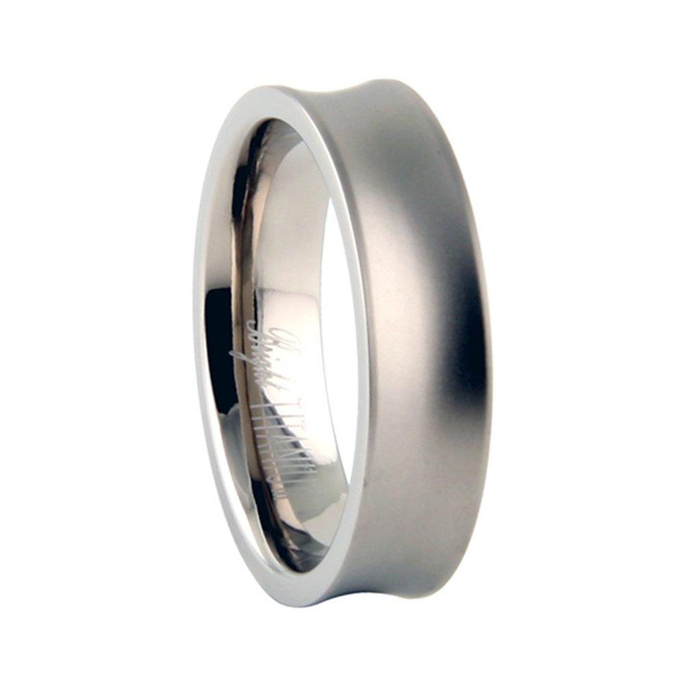 Precious Gem Jewellers Mens Titanium 6mm Concave Center Matte Finish Wedding Band Size 12