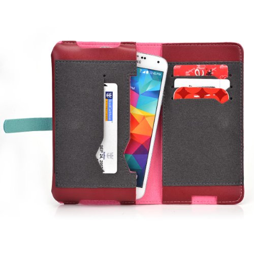 Motorola DROID Ultra Wallet Case with Window and Money Holder - Red