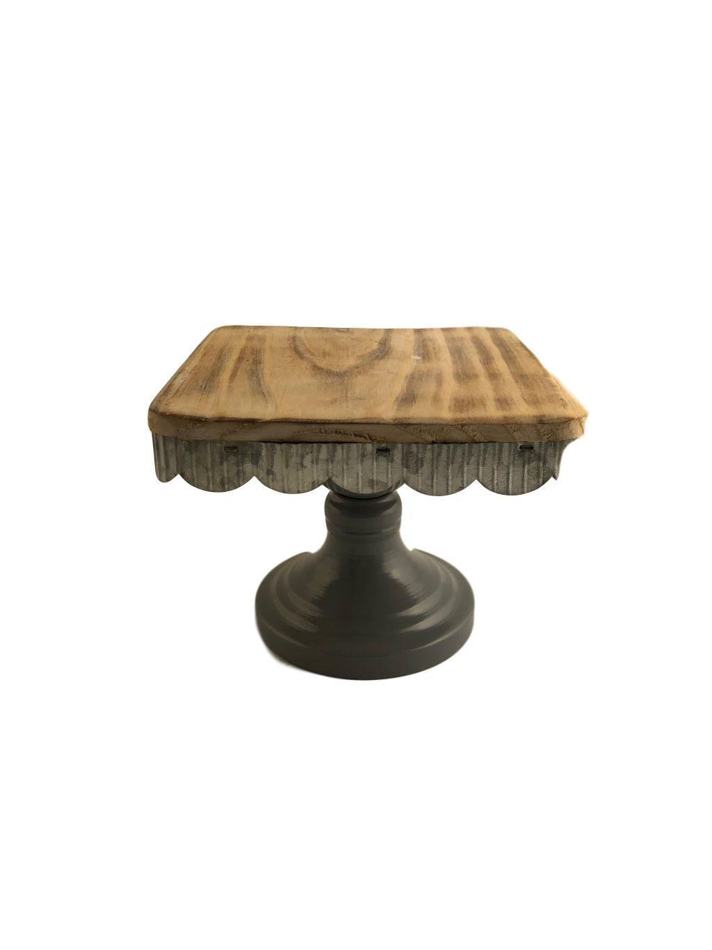 Hampton Cake Pedestal Stand Wood Vintage Wedding Cake Stand Cupcakes Cakes Assorted Size Large Small Medium (Square 7.08X7.08X5.4H, Grey and Wood)
