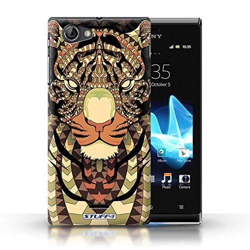 Etui / Coque pour Sony Xperia J (ST26i) / Tigre-Sépia conception / Collection de Motif Animaux Aztec
