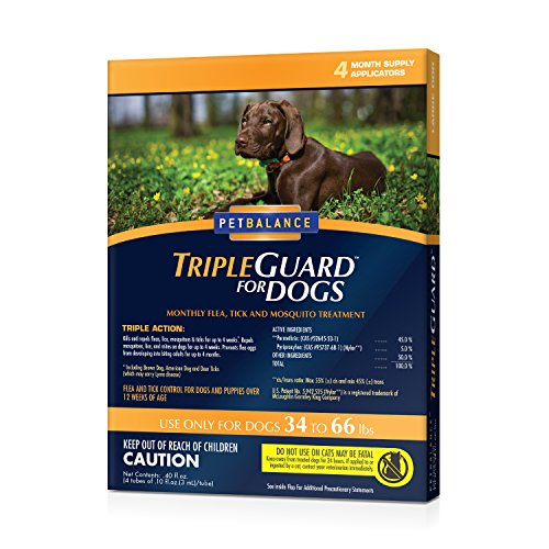 (Pet Balance TripleGuard Flea & Tick Drops for Large Dogs, 34-66 lbs, 4 Month Supply)