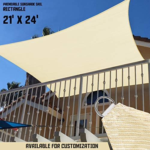 TANG Sunshades Depot 21 x24 240 GSM Sun Shade Sail Square Permeable Canopy Tan Beige Customize for Patio Garden Preschool Kindergarten Playground Outdoor Facility Activities