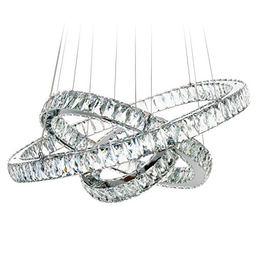 MEEROSEE Modern Crystal Chandelier Lighting Ceiling Light Fixture LED Contemporary Adjustable Stainless Steel 3 Rings Chandeliers Lights D27.56 19.69 11.81 Big Crystal