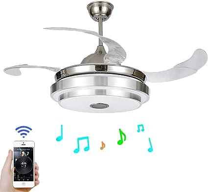 XYJGWXDD Luz de Ventilador Aspas retráctiles Modernas Ventilador de Techo con luz y lámpara de Techo remota Regulable con Bluetooth Luz de Techo de música Plegable: Amazon.es: Hogar