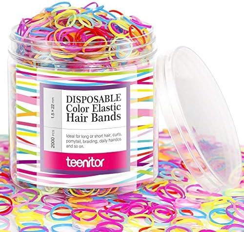 [スポンサー プロダクト]Teenitor ヘアゴム こども 2000本 髪ゴム 子供 カラーゴム 子供用ヘアゴム 髪留め 髪飾り カラフル ヘアゴム小さい 誕生日 飾り ヘアアクセサリー 女の子 プレゼント キャンディーカラー