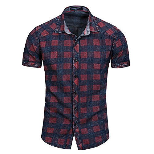 Willow S ☪✯ღ☪Men's Block Casual Plaid Casual Lapel Button O Neck Pullover Short/Long Sleeve T-Shirt Top Blouse Red