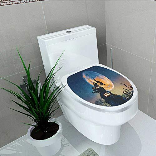 (Printsonne Waterproof self-Adhesive Dead Queen in Castle Zombies in Cemetery Love Affair Bridal Halloween Toilet Seat Vinyl Art Stickers W15 x)