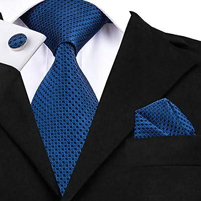 HYCZJH Moda Azul y Negro Punto Corbata de Seda 8.5 cm Corbata para ...