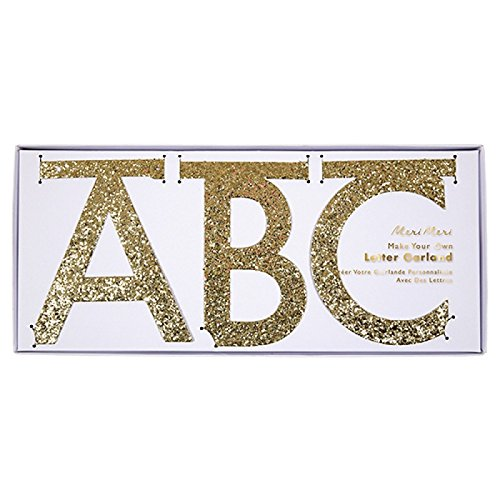 Meri Meri DIY Customizable Letter Garland Kit (Gold), 12 Feet (Sparkly Letters)