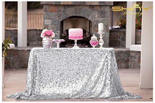 ShiDianYi 50''x72''Silver Sequin Tablecloth, Wedding Table Cloth, Sparkle