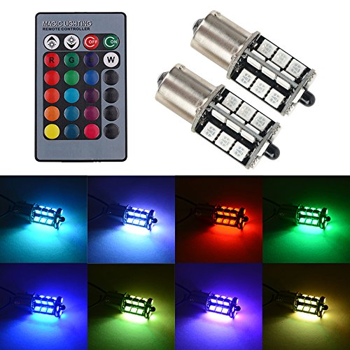 - 1156 LED RGB Bulb Amber White Red Multicolor 16 Color Changing Brake Lights Turn Signal Reverse Tail Bright Strobe Car Trunk Remote Control Switch Kit Error Free Plug 12V 5050SMD Replacement【1797】