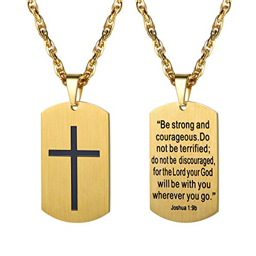 PROSTEEL Gold Dogtag Necklace Men Women Pendant Military Dog Tags Bible Inspirational Religious Men's Necklaces Gift 18K Plated Cross Christian Jewelry