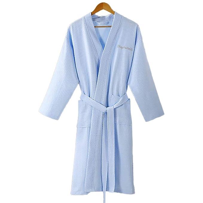 Premium Waffle Algodón Pijamas De Hotel Salón Albornoz, Unisex Absorbente Delgada Bata, Suave Respirable Piel-amistosa Ropa: Amazon.es: Ropa y accesorios