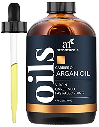 ArtNaturals Organic Argan Oil for Hair, Face and Skin, Grade A Triple Extra Virgin Cold Pressed from The kernels of The Moroccan Argan Tree, The Anti Aging, Anti Wrinkle Beauty Secret, 4 oz.