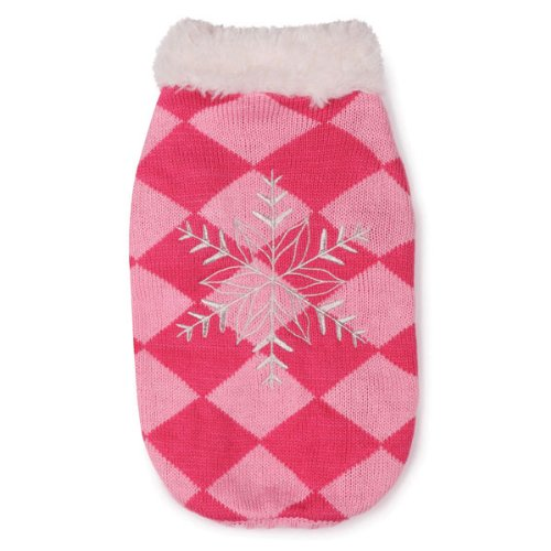 East Side Collection Acrylic Snowflake Snuggler Dog Sweater, Small, 12-Inch, Pink, My Pet Supplies