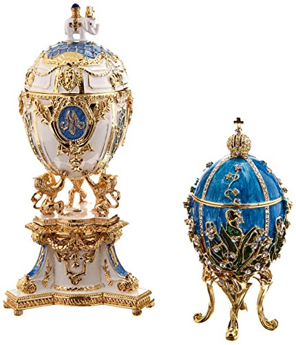 Design Toscano Empress Valentina and Empress Galina Faberge-Style Collectible Enameled Eggs by Design Toscano