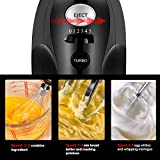 Hand Mixer with 5-Speed 250W Power Advantage Electric Handheld Mixer with Turbo and Easy Eject Button,Includes Storage Case Beaters Dough Hooks and Balloon Whisk, by KEEMO-Black