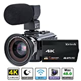 Video Camera Camcorder 4K kicteck Ultra HD Digital WiFi Camera 48.0MP 3.0 inch Touch Screen Night Vision 16X Digital Zoom Recorder with...