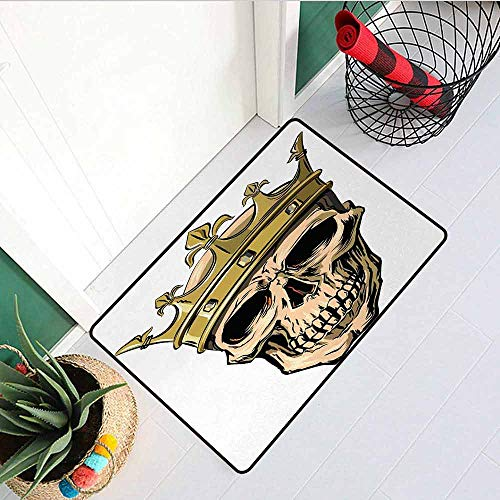GloriaJohnson King Commercial Grade Entrance mat Dead Skull Skeleton Head with Royal Holy Crown Tiara Hand Drawn Image for entrances garages patios W31.5 x L47.2 Inch Golden and Pale Brown