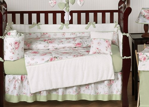 Sweet Jojo Designs 9-Piece Riley's Roses Pink and Sage Green Shabby Chic Floral Baby Girl Flower Bedding Crib Set