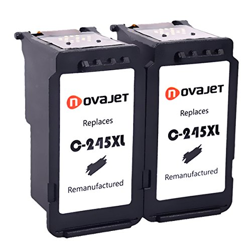 Novajet Remanufactured for Canon PG-245XL Ink Cartridges, 2 Black, Shows Accurate Ink Level, Used in Canon PIXMA MG2520 MG2920 MG2922 MG2924 MG2420 MG2522 MG2525 MG3020 MG2555 MX490 MX492 Printer