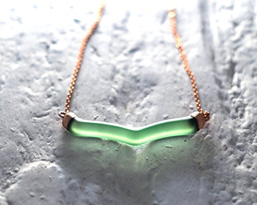 Gin Necklace from Recycled Tanqueray No. Ten Bottle - Melted Glass and Copper Pendant