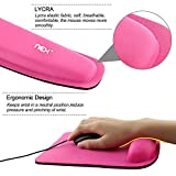 NEX Mouse Pad with Keyboard Wrist Rest Pad Kit Comfortably Made of Memory Foam (Pink)