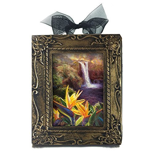 Rainbow Falls Big Island Hawaii Waterfall Miniature Antique Style Ornament By Karen Whitworth