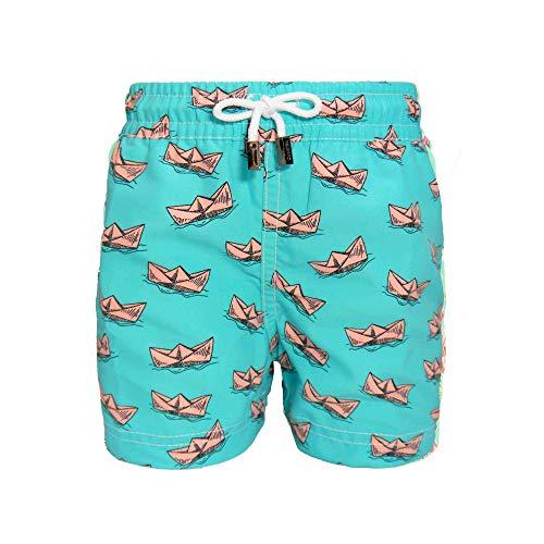 98 Coast Av. Tropical Collection Kids Boys' Premium Swimsuit Quick Dry Beach Trunks (S, Aqua Paper Boats)