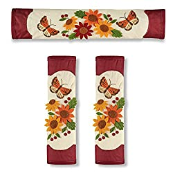 Sunflower Kitchen Décor Appliance Door Handle Covers for Refrigerator & Oven, 3pc. Set