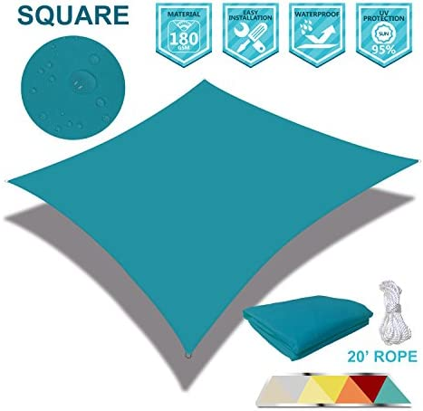 Coarbor 12 x 12 Square Light Green Waterproof Sun Shade Sail Perfect for Patio Outdoor Garden