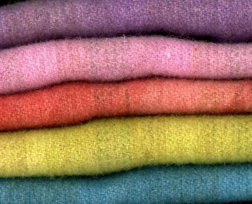 Hand Dyed Cottage Wool Chunks 5 pc 9in x 10in each (Dyed Wool Hand Fabric)