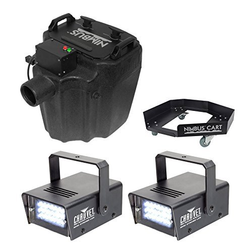 Chauvet DJ Nimbus Plug/Play Dry Ice Fog Machine+Nimbus Cart+2 Free Strobe Lights by Chauvet